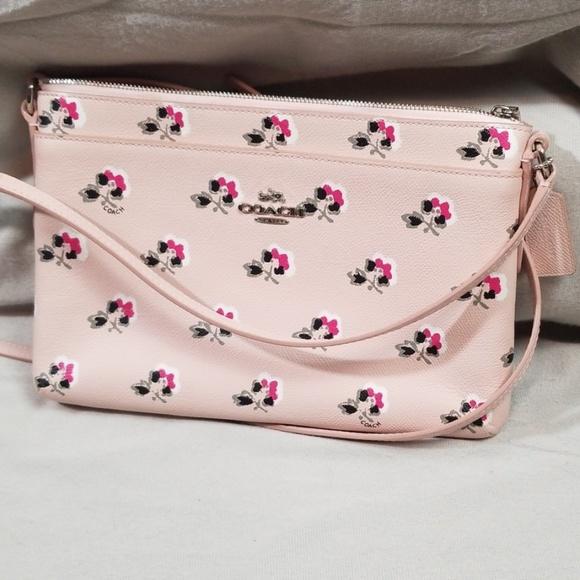 Coach Handbags - Coach Pink Floral Crossbody Purse Bag